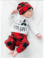 cheap -Unisex Daily Holiday Geometric Print Plaid Clothing Set, Cotton Spring Fall Long Sleeves Cute Casual Red