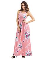 baratos -Mulheres Bainha Vestido - Estampado, Floral Cintura Alta Longo