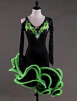 abordables -Danse latine Robes Femme Utilisation Spandex Georgette Appliques Cristaux/Stras Manches Longues Taille haute Robe