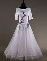 cheap -Ballroom Dance Dresses Women's Performance Stretch Yarn Organza Embroidery Cascading Ruffles Crystals/Rhinestones Half Sleeves Dress