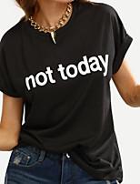 Недорогие -Жен. Повседневные Лето Футболка, Круглый вырез Простой Буквы С короткими рукавами Полиэстер