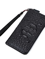 cheap -Unisex Bags PU Wallet Zipper for Casual All Seasons Black Dark Brown