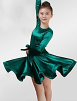 abordables -Danse latine Robes Fille Utilisation Spandex Ceinture en étoffe Ruché Manches Longues Robe