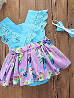 cheap -Baby Girls' Daily Going out Floral Patchwork One-Pieces,Cotton Polyester Summer Cute Casual Sleeveless Purple Blue