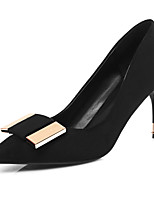 cheap -Women's Shoes Nubuck leather Spring Summer Comfort Heels Stiletto Heel Pointed Toe for Wedding Office & Career Black Red