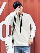 cheap -Men's Daily Simple Pleated Solid Round Neck Plus Size Hoodie Regular,Short Sleeve Spring Cotton Linen Acrylic Polyester