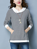 cheap -Women's Plus Size Loose T-shirt - Striped Color Block
