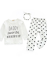 cheap -Baby Girls' Daily Print Clothing Set, Cotton Spring Simple White