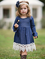 cheap -Girl's Daily Going out Solid Patchwork Dress, Nylon Spring Summer Long Sleeves Simple Boho Royal Blue