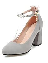 preiswerte -Damen Schuhe Nubukleder Frühling Herbst Knöchelriemen High Heels Blockabsatz Spitze Zehe Imitationsperle Schnalle für Party & Festivität