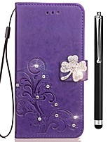 cheap -Case For Vivo vivo X20 Plus vivo X20 Card Holder Wallet Rhinestone with Stand Flip Embossed Full Body Cases Flower Hard PU Leather for