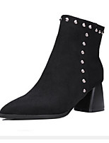 cheap -Women's Shoes Nubuck leather Winter Fall Comfort Bootie Boots Chunky Heel Booties/Ankle Boots for Casual Black Dark Red