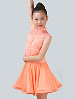cheap -Latin Dance Dresses Girls' Performance Spandex Lace Lace Ruching Sleeveless Dress
