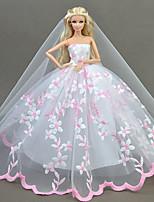 Недорогие -Платья Платье Для Кукла Барби Бледно-розовый Тюль Кружево Шелково-шерстяная ткань Платье Для Девичий игрушки куклы