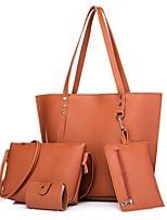 cheap -Women's Bags PU Bag Set 4 Pieces Purse Set Beading for Shopping Casual All Seasons Black Blushing Pink Light Gray Brown Dark Grey
