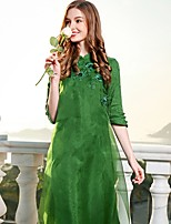 cheap -Women's Vintage Basic Chinoiserie A Line Loose Dress - Solid Color Stand