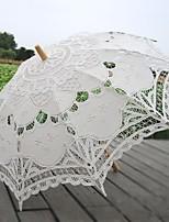 cheap -handmade craft lace umbrella stick straight handle decorative wedding photography props umbrella beige