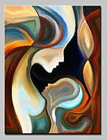 Недорогие -Ручная роспись Люди Вертикальная, Modern Hang-роспись маслом Украшение дома 1 панель