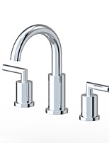 cheap -Contemporary Widespread Ceramic Valve Two Handles Three Holes Chrome, Bathroom Sink Faucet