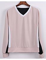 abordables -Mujer Conjunto - Bloques Color sólido Escote en Pico Pantalón
