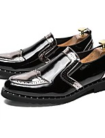 cheap -Men's Shoes Patent Leather Spring Fall Comfort Loafers & Slip-Ons for Outdoor Silver Black Gold