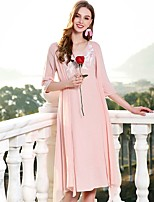 cheap -Women's Vintage Basic Chinoiserie Loose Dress - Solid Color V Neck