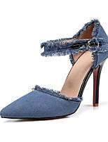 cheap -Women's Shoes Denim Spring Summer Comfort Ankle Strap Heels Stiletto Heel Pointed Toe for Casual Black Dark Blue Light Blue