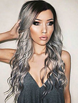 cheap -Synthetic Hair Wigs Water Wave Side Part Highlighted/Balayage Hair Ombre Hair Cosplay Wig 13cm(Approx5inch) Black/Grey