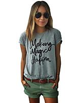 abordables -Tee-shirt Femme, Couleur Pleine Quotidien simple Printemps Manches Courtes Col Arrondi Coton