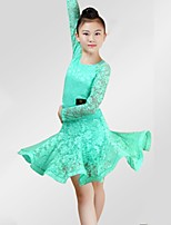 cheap -Latin Dance Dresses Girls' Performance Spandex Lace Lace Ruching Long Sleeves Dress