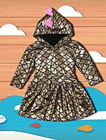 abordables -Robe Fille de Soirée Sortie Imprimé Motif Animal Polyester Printemps Automne Manches longues Mignon Actif Or