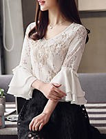 cheap -Women's Work Flare Sleeve Polyester Blouse - Solid, Lace Bow V Neck