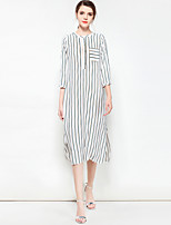 cheap -Women's Loose Dress - Striped, Basic