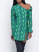abordables -Femme Grandes Tailles Bohème Mince Chemise Robe - Fendu, Géométrique Col de Chemise Mini