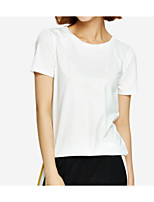 cheap -Women's Daily Simple T-shirt Round Neck Short Sleeves Cotton