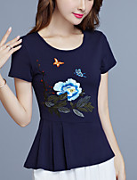 cheap -Women's Chinoiserie Plus Size Slim T-shirt - Floral, Pleated Embroidered