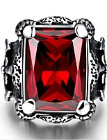 cheap -Men's Band Rings Synthetic Ruby Fashion Stainless Steel Geometric Jewelry Gift Daily