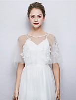 cheap -Sleeveless Tulle Wedding Party / Evening Women's Wrap With Rhinestone Embroidery Capelets