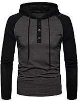 cheap -Men's Daily Solid Hooded Hoodie Regular, Long Sleeves Spring Polyester