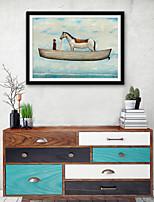 abordables -Abstrait Animaux Illustration Art mural,Plastique Matériel Avec Cadre For Décoration d'intérieur Cadre Art Salle de séjour