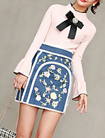 cheap -Women's Going out Simple Round Neck Skirt Long Sleeves Spring