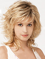 cheap -Synthetic Wig Wavy With Bangs Density Capless Blonde Celebrity Wig 13cm(Approx5inch) Synthetic Hair
