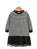 cheap -Girl's Daily Going out Solid Striped Patchwork Dress, Cotton Polyester Spring Fall Long Sleeves Cute Active Black