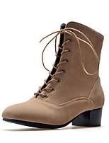 Недорогие -Жен. Обувь Дерматин Зима Верховые ботинки Армейские ботинки Ботинки На толстом каблуке Круглый носок для Повседневные Черный Серый Хаки