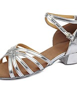 "cheap -Children's Latin Leatherette Sandal Heel Training Buckle Chunky Heel Silver 2"" - 2 3/4"" Customizable"