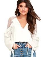 preiswerte -Damen Solide Sexy Klub T-shirt,V-Ausschnitt Winter Polyester Elasthan