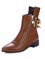 cheap -Women's Shoes PU Winter Fall Comfort Fashion Boots Boots Chunky Heel Booties/Ankle Boots for Casual Black Light Brown