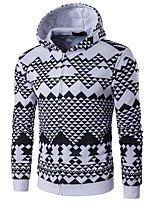 cheap -Men's Daily Houndstooth Hooded Hoodie Regular, Long Sleeves Spring Polyester