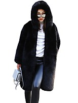 Недорогие -Жен. Повседневные На выход Зима Осень Длинная Пальто с мехом Капюшон, Однотонный Китайский красный Однотонный Разные цвета Китайский