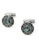 cheap -Circle Silver Cufflinks Natural Fashion Party Gift Men's Costume Jewelry